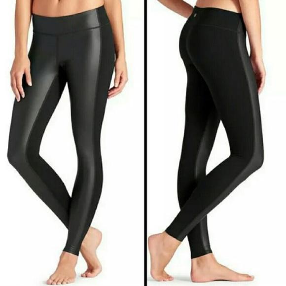 7d0624ccd2a27 Athleta Pants | Gleam Tights Black Faux Leather Leggings | Poshmark